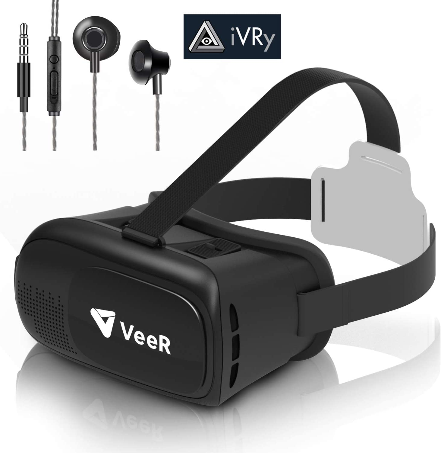 VeeR Origin VR Headset, Universal Virtual Reality Goggles Ver2.0 for 360 Movies&Video with Powerful Ivry Games,Compatible with Android Smartphone & iPhone, 3D VR Glasses with in-Ear Earbud Headphone
