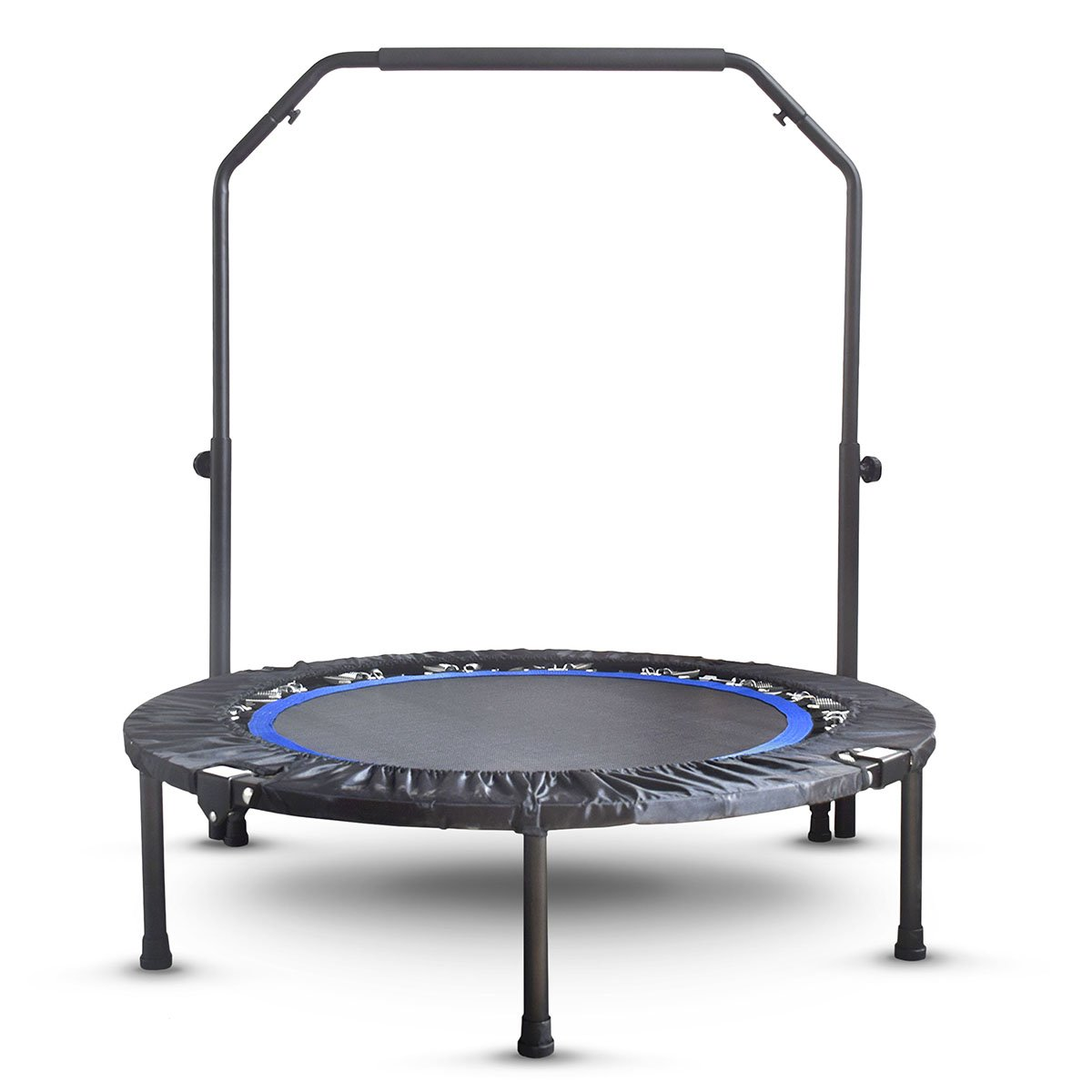 Mini Exercise Trampoline for Adults - Indoor Fitness Rebounder with Adjustable Handle Bar for Kids - Spring Cover and Folding Legs For Small Storage by Activox