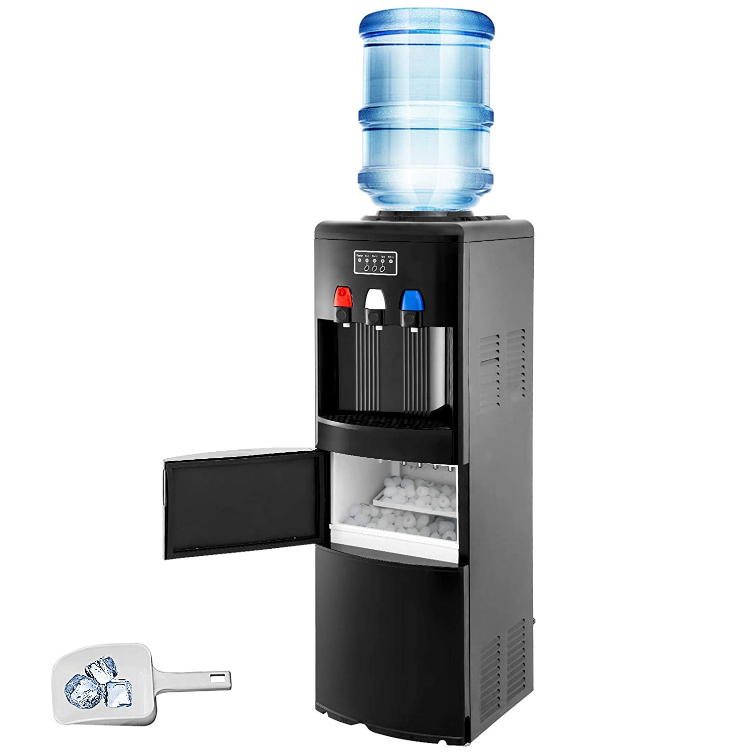 VBENLEM 2 in 1 Black Water Dispenser with Built in Ice Maker Water Cooler Machine Hot and Cold Top Loading 3 to 5 Gallon Bottle Electric Hot Cold Water Cooler Dispenser