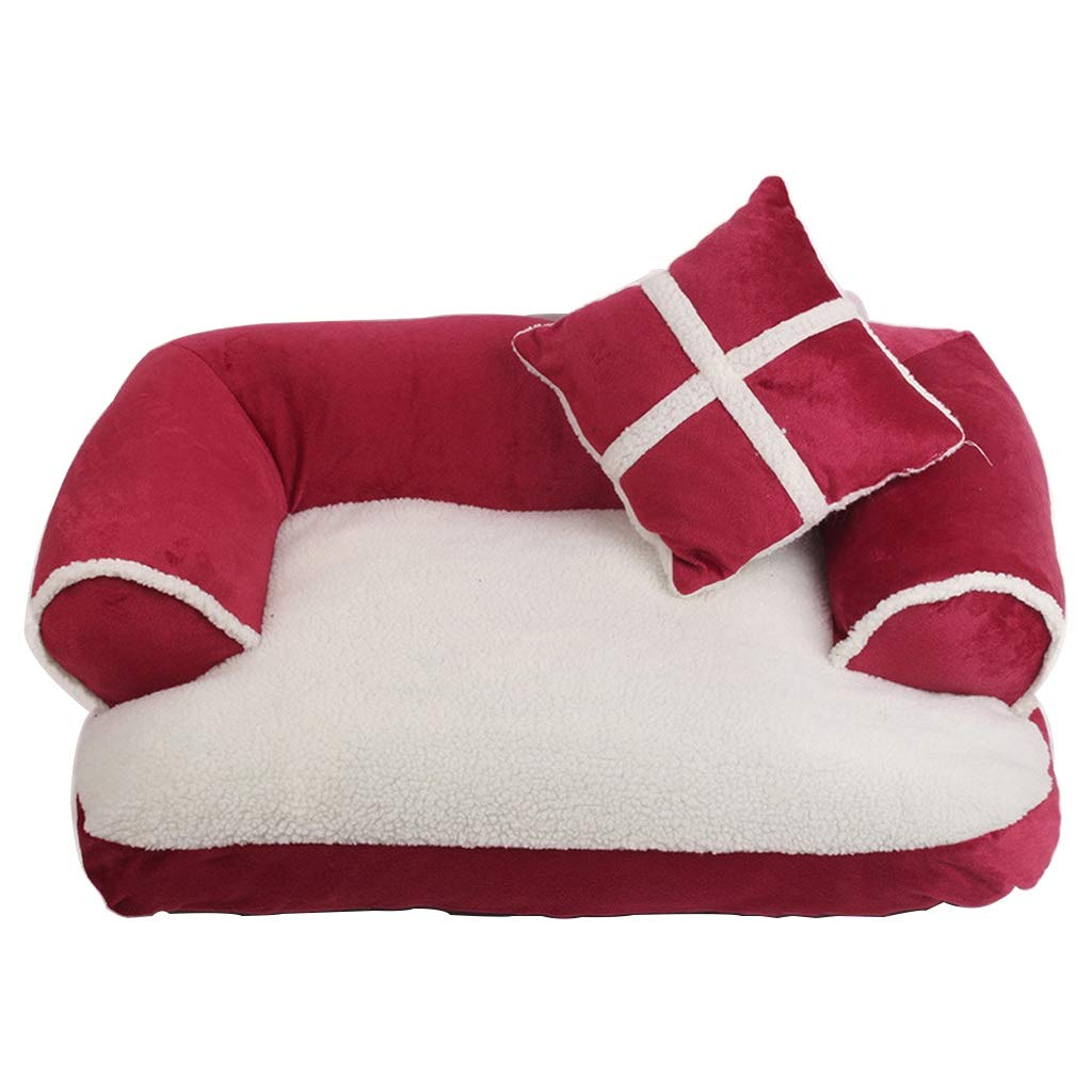 Red Medium Red Medium Small and Medium Dog and Cat Bed Pet Sofa, Cashmere, Suitable for Small and Medium Cats and Dogs, Sleep With Wool and Suede, Detachable and Washable, Available In Three colors