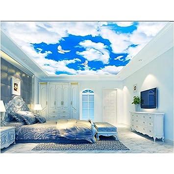 Msyiku Papier Peint En Soie 3d Salle Plafond Peintures Murales