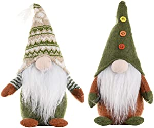 2 PCS Christmas Gnomes - Home Ornaments Table Decor Festival Decoration Handmade Santa Gnome Plush Doll Figurine Christmas gonk Dwarf Elf Xmas Gifts - Green 11.4 inches