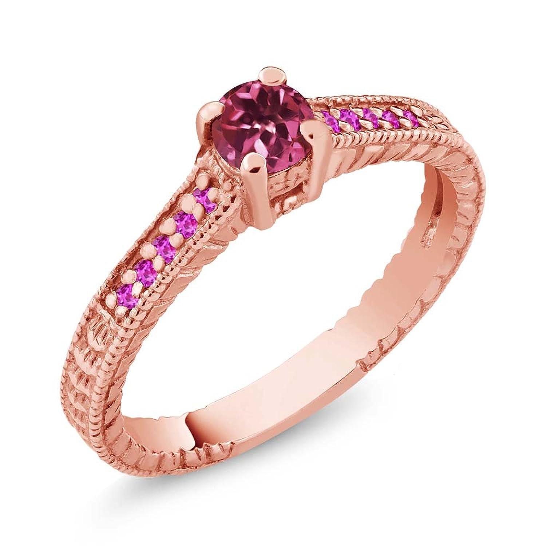0.32 Ct Round Pink Tourmaline Sapphire 14K Rose Gold Engagement Ring