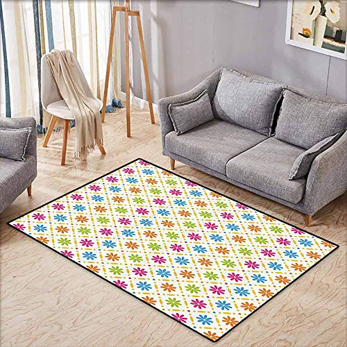 Floor Bath Rug Floral Colorful Flowers and Dots Geometric Square Tile Pattern on White Backgorund Print Multicolor Suitable for Outdoor and Indoor use W5'2 xL4'6