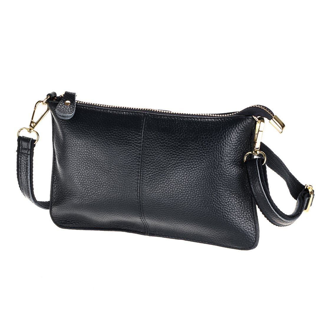 SEALINF Women's Cowhide Leather Clutch Handbag Small Shoulder Bag Purse (black)