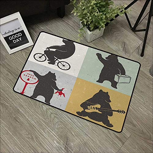 pad W16 x L24 INCH Bear,Funny Frames in Drawing Style Mascot Hunter Biker Musician Travelling Grunge Display,Multicolor Non-Slip Door Mat - Pad Desk Mascot