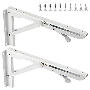 2 PCS 12 INCH Folding Shelf Bracket, Max Load 132lb, KINJOEK Heavy Duty Locking Hinge, Painted Stainless Steel Bench Table Wall Mount Folding Bracket for Kitchen with 10 Screws