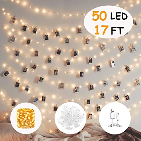 Tenruy Photo Clips String Light 17ft 50 Led Photo String Lights With Clips For Wedding Party Christmas Home Decorate Fairy Lights For Hanging