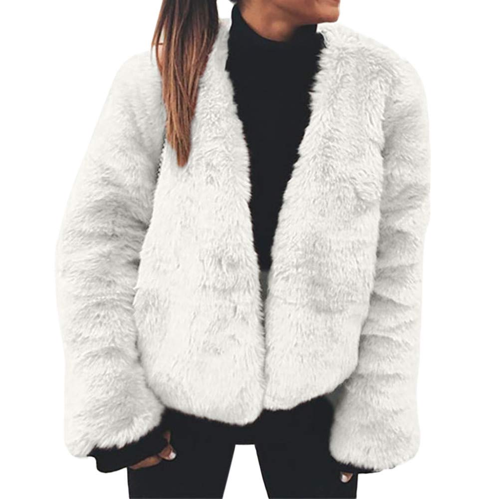 Kemilove Women's Fashion Long Sleeve Faux Fur Cardigan Shearling Shaggy Oversized Coat Jacket with Pockets Warm Winter
