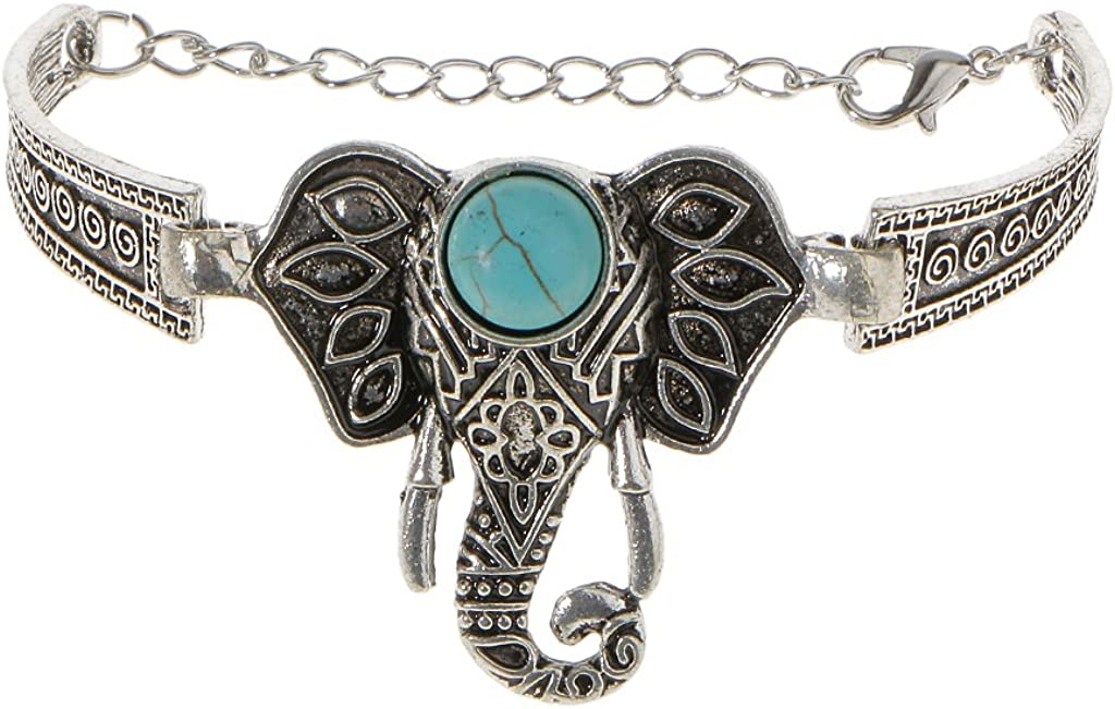 Para Mujer Para Hombre Del Brazalete Del Encanto De La Cadena De Pulsera De Color Turquesa Elefante Bohemio De Moda