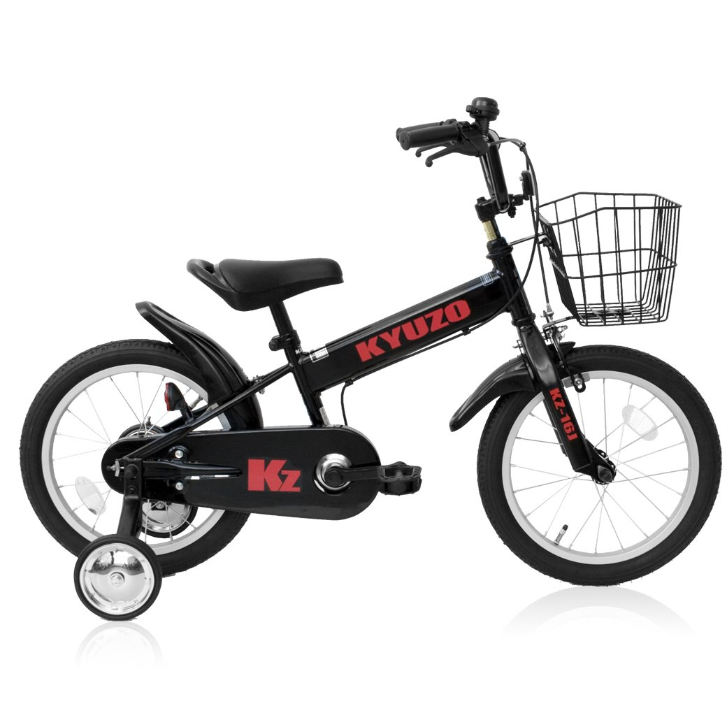 全5色 KYUZO 16インチ 子供用自転車 補助輪付 カゴ付 B06Y4LZRPZ ブラック ブラック