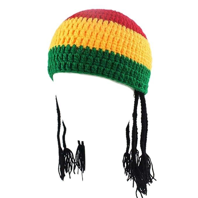 BIBITIME Handmade Jamaican Beanie With Hair Braid Knit Hat Adult   Kid  Party Cap (Adult 95038721047