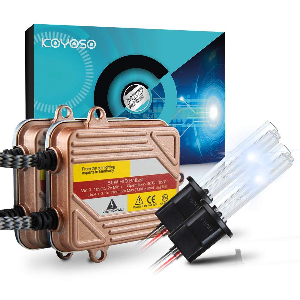 KOYOSO H1 Xenon HID Kit 50W Quick Start Slim Ballasts Fast Bright Car Headlight Bulbs Frontlight 6000K 2 Year Warranty