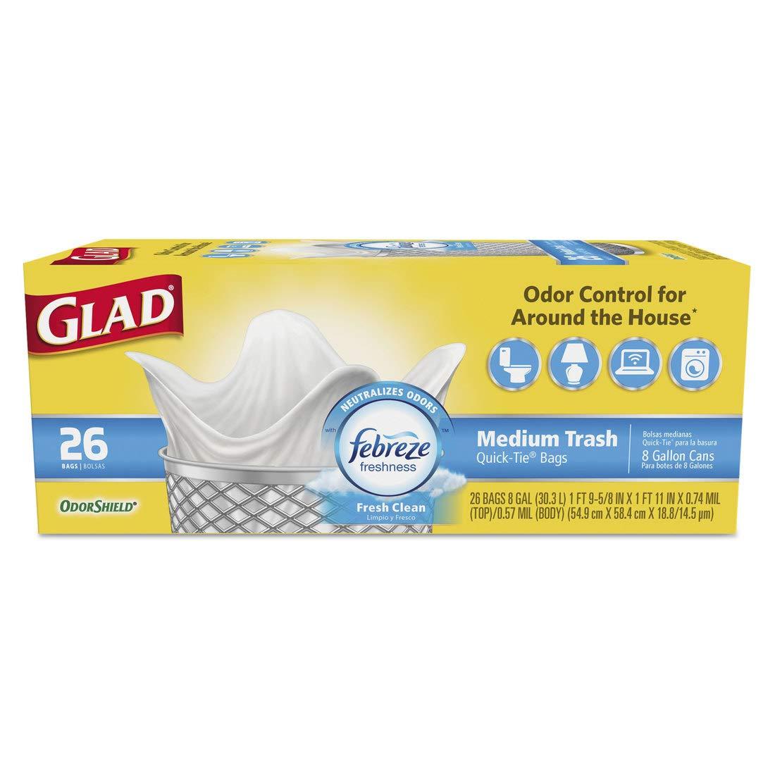 OdorShield QuickTie Medium Trash Bags, Fresh Clean.57mil, 8gal, 26/BX, 6 BX/CT by Glad