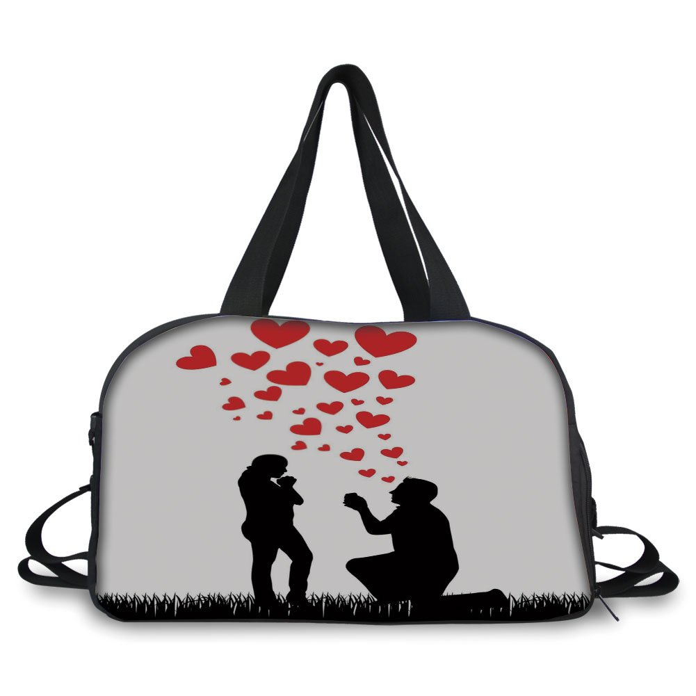 iPrint Travelling bag,Engagement Party Decorations,Wedding Proposal of Romantic Couple with Hearts Image,Black White and Red ,Personalized