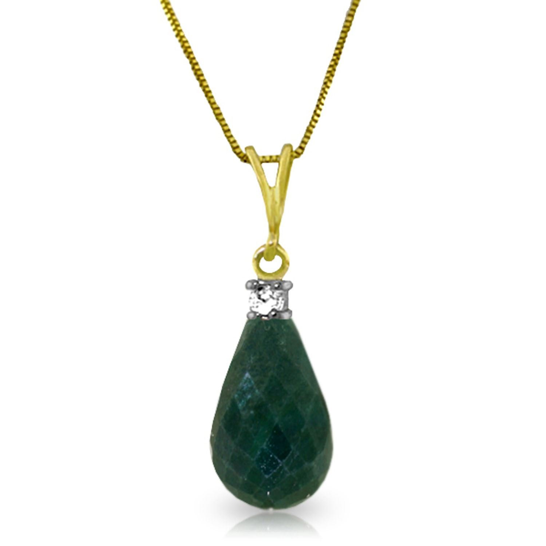 ALARRI 8.85 Carat 14K Solid Gold Jada Emerald Diamond Necklace with 18 Inch Chain Length