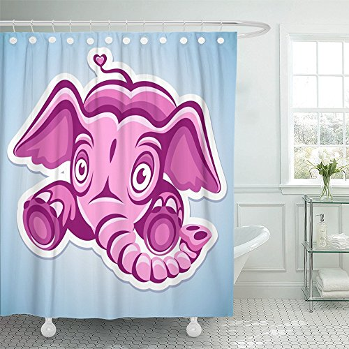 """Emvency Shower Curtain 72""""x72"""" Home Decor Red Rose Flying Cartoon Pink Elephant Animal Character Childhood Clipart Drawing Ear Waterproof Polyester Fabric Adjustable Hook"""