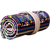 Magideal 72 Holes Ethnic Canvas Wrap Roll Up Pencil and Pen Bag Holder (Multicolour)