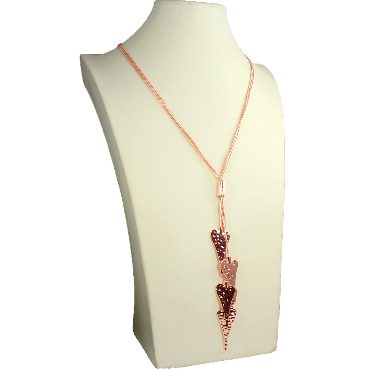 Lagenlook rose gold plated hammered finish dangling 5 heart charm long necklace