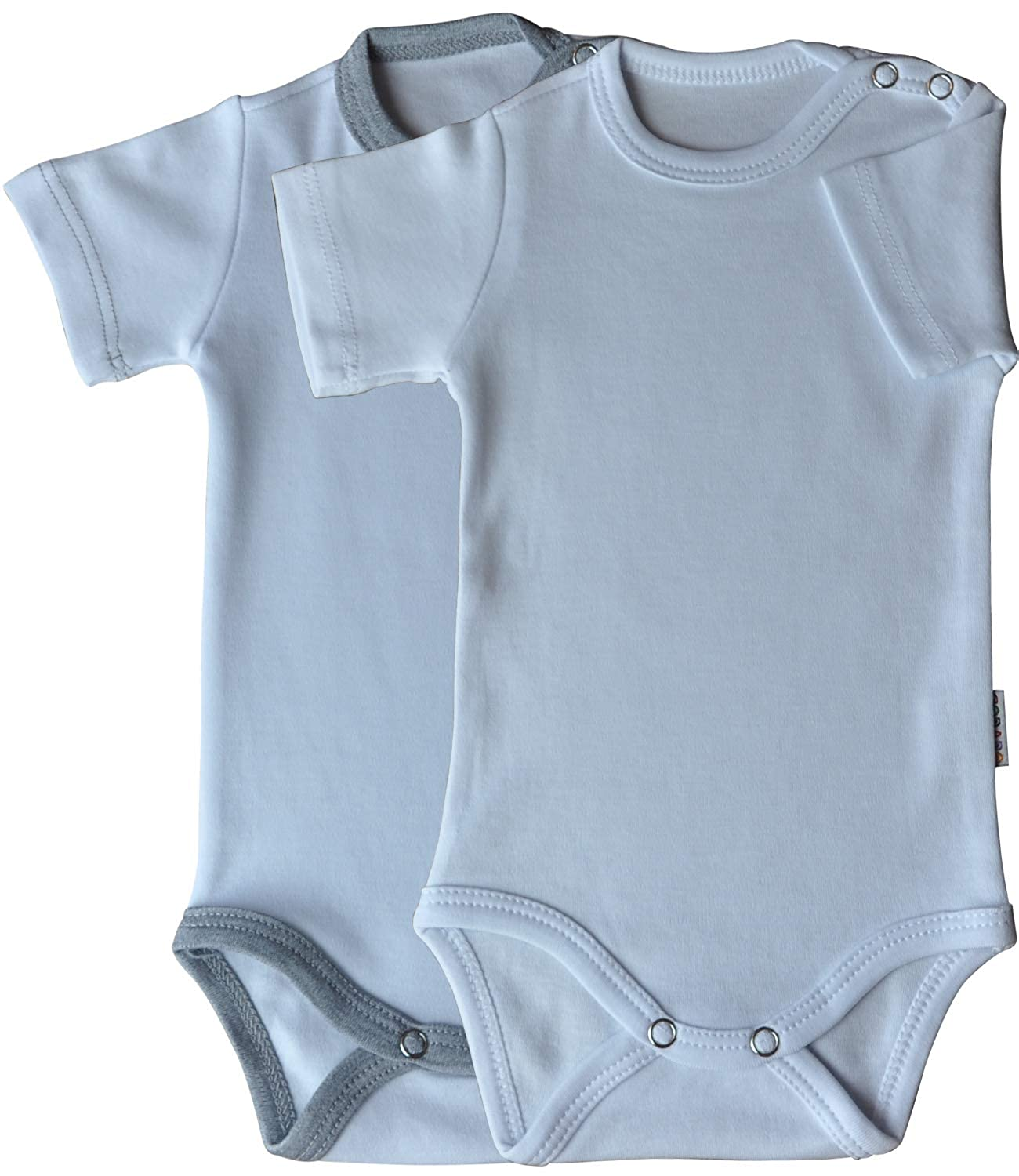 Princess Taufkleid Babybodys mit Druckkn/öpfen 100/% Baumwolle Unisex Doppelpack