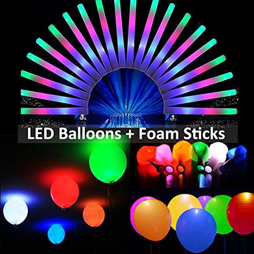 LED Balloons and Glow Sticks Party Pack - 12 PCS LED Flashing Light Up Foam Sticks and 20 PCS LED Balloons Party Lights Ideal for Birthday Wedding Decorations Balloon Party Pack