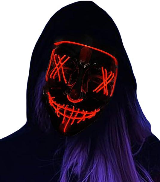 Falecha Halloween Máscara de Purga – Máscara de Disfraz LED para ...