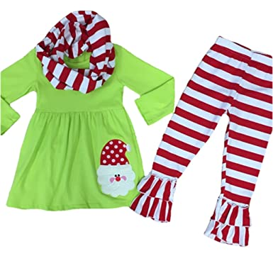 fc18bc68938f Cute Kids Clothing Red/Green Santa Outfit Baby Girl Christmas Outfit Toddler  Girl/Girl's