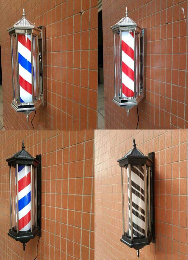 Y&MoD Led Barbierstab Leuchtkugel Barber Pole Friseur Salon Licht Schild Rotierend Friseur Pole Lampe Rot Weiß Blaue Streifen Wasserdichte Wandleuchte,78cm/31in A/B D