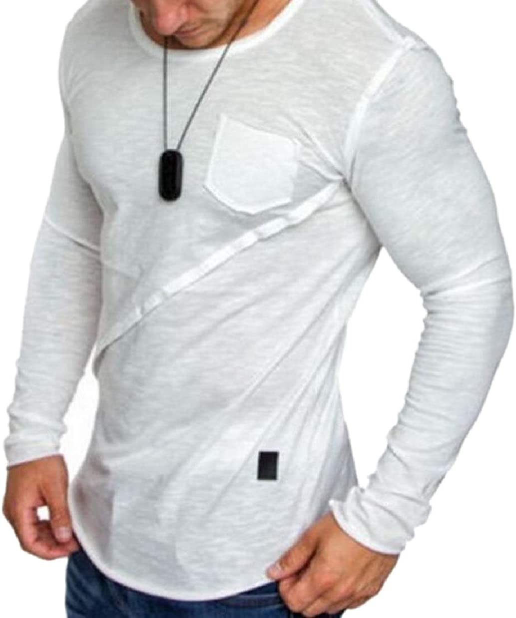 ZXFHZS Mens Patchwork Blouse Solid Color Long Sleve Loose Fit Casual Pullover Tees Top