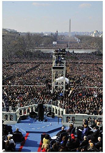 President Barack Obama Giving Inaugural Address Art Poster Print