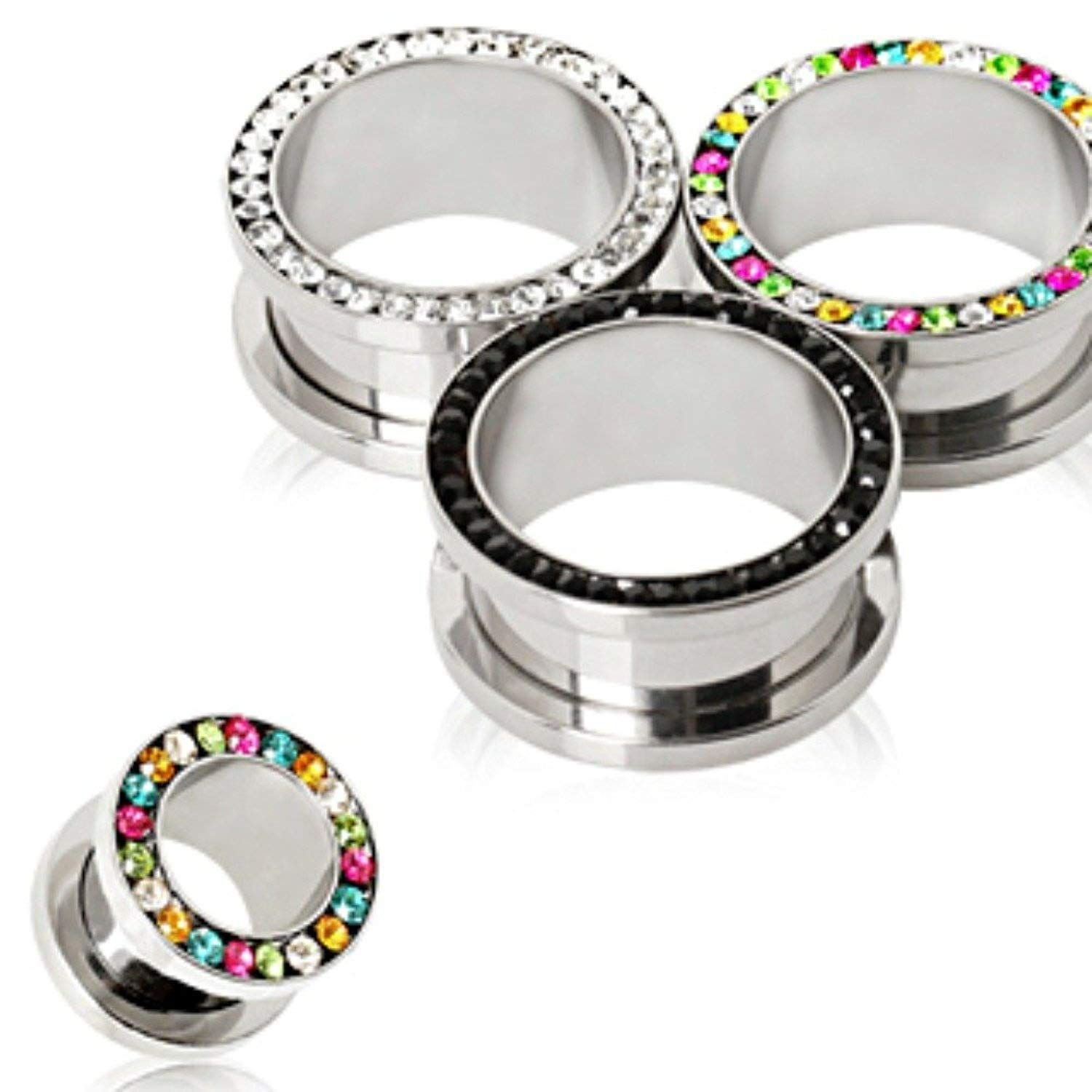 Covet Jewelry 316L Surgical Steel Multi CZ Screw Fit Tunnel Plug (7/8'', Rainbow) by Covet Jewelry