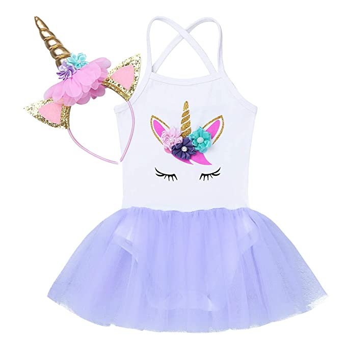 iiniim Baby Girls One Piece Cartoon Romper Princess Birthday Tutu Dress with Headband Party Outfit Fancy