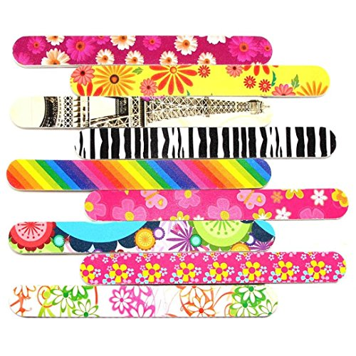 10PCS Art Nail File Grind Sand Block Double Sided Printing Polished Strip Tools