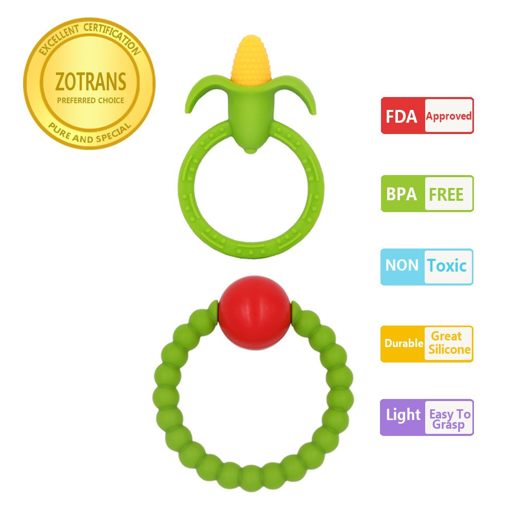CDM product Baby Teething Toys - Infant Rattles and Corn Teether Ring by Zotrans,100% BPA Free Safe Soft and Chewable Bracelet for Baby Gums to Soothing Pain (Set of 2 Pcs) … big image