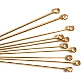 100 pcs 14k Gold Filled Eye Pins 2 inch, 22ga 22 Gauge Wire Connector/Findings/Yellow Gold