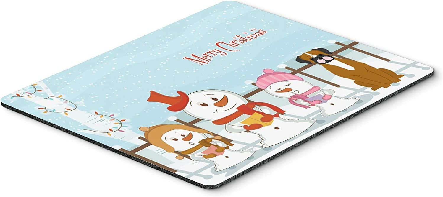 Caroline's Treasures BB2447MP Merry Christmas Carolers Flashy Fawn Boxer Mouse Pad, Hot Pad or Trivet, Large, Multicolor [並行輸入品]