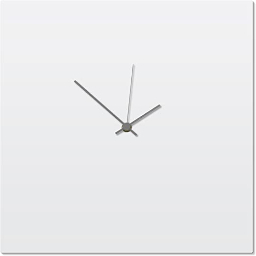 Amazon Com Metal Art Studio Contemporary Clock Whiteout Grey Square Clock By Adam Schwoeppe Original White Kitchen Clock Minimalist Wall Decor On Aluminum Polymetal Home Kitchen