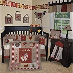 SISI Baby Bedding -Western Cowboy 14 PCS Crib Bedding Set incl. Music Mobile