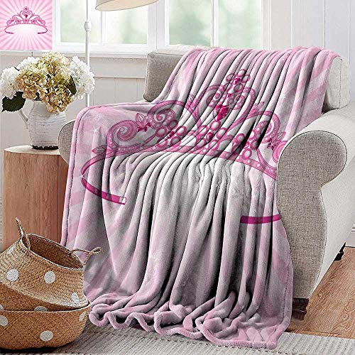 PearlRolan Soft Cozy Throw Blanket,Kids,Beautiful Pink Fairy Princess Costume Print Crown with Diamond Image Art,for Bed & Couch Sofa Easy Care 70