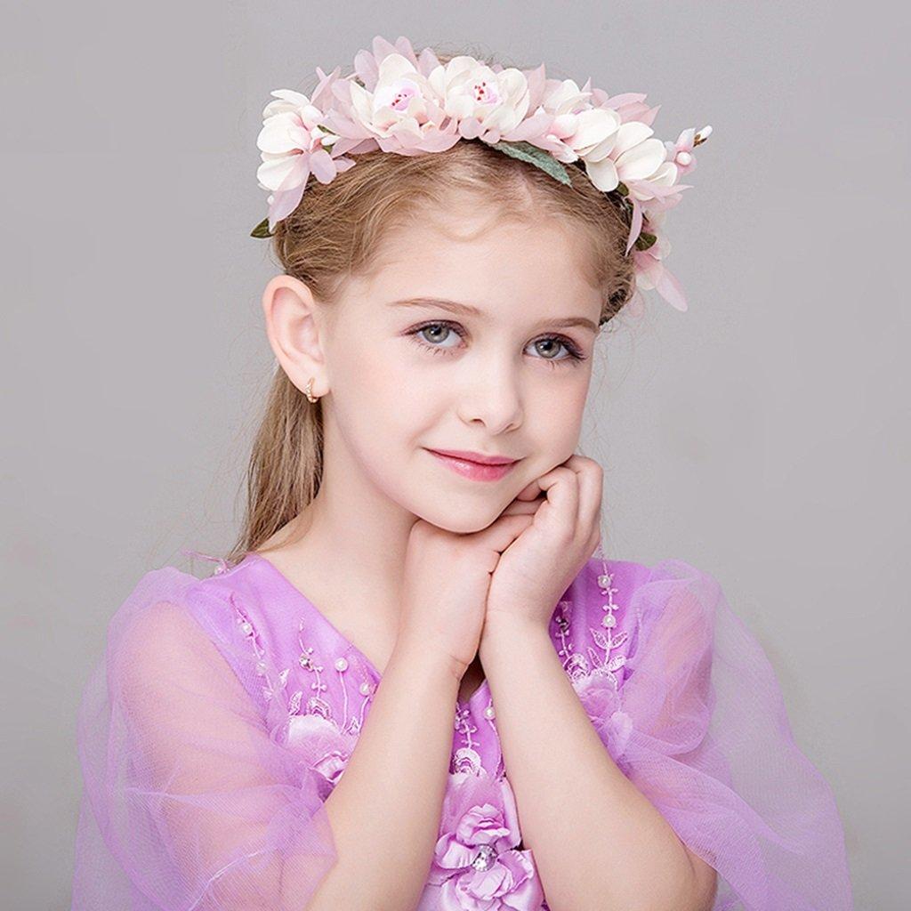 Wreath Flower, Girl Hair Ornaments Headband Accessories Child Princess Headdress (Color : Pink)