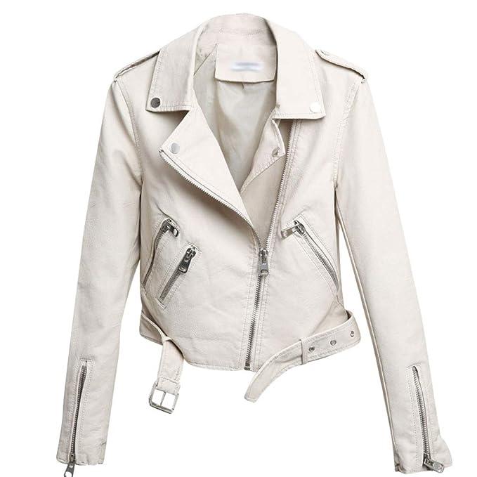 7c247787946 Mujer Cuero De PU Chaquetas Casual Manga Larga Tops Cazadora con Cremallera  Slim Corto Jacket De Moto Coat con El Cinturón  Amazon.es  Ropa y accesorios