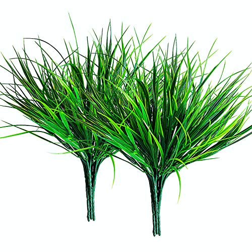 10 Pcs Artificial Outdoor Grass Plants, Faux Plastic Wheat Grass, Fake Leaves Greenery Shrubs Bushes UV Resistant Plants…