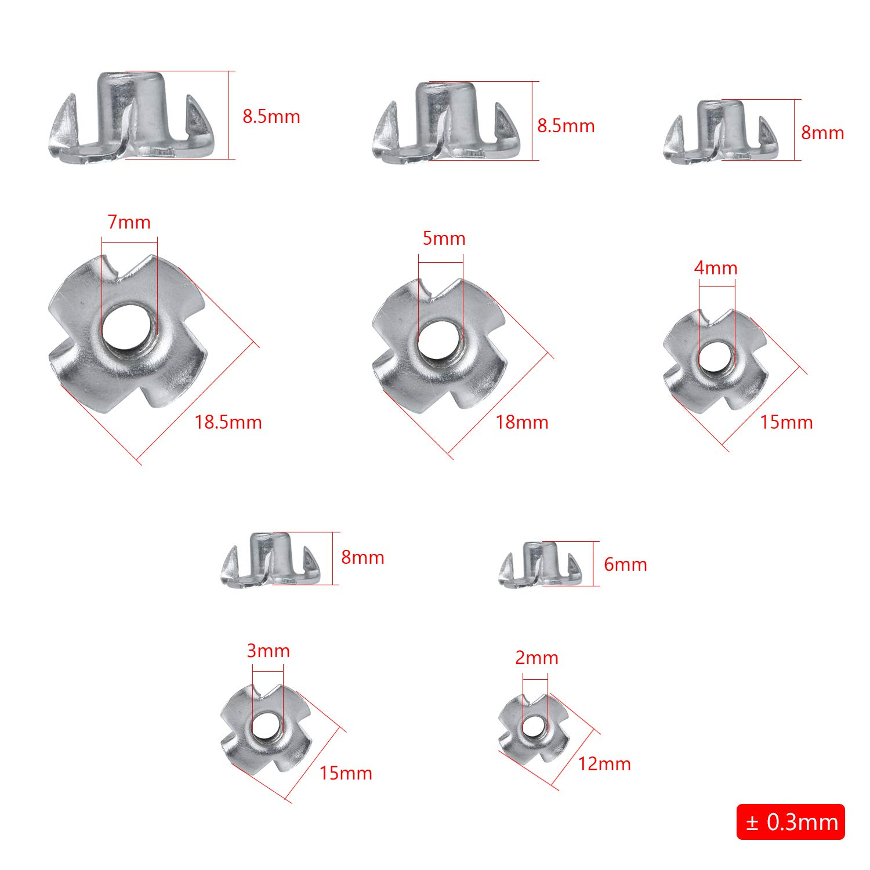 Kit Ecrous en T 4 Griffes M3//M4//M5//M6//M8 Ecrous en T Travail du Bois Meuble NATEE 90pcs Ecrou en Acier au Carbone /à 4 Griffes