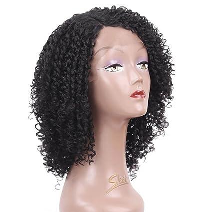 OKMIJNBH Pelucas Mujer Pelo Natural Negro Corto Lace Front, Sintética Corta Ondulada Mujeres para Cosplay