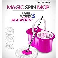 ALLWIN PVC Bucket 360-Degree Easy Magic Floor Mop with 3 Micro Fiber Refills (Pink)