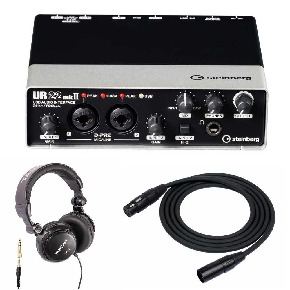 Steinberg UR22MKII 2-Channel USB Audio Interface with Headphones and 2 XLR Cables