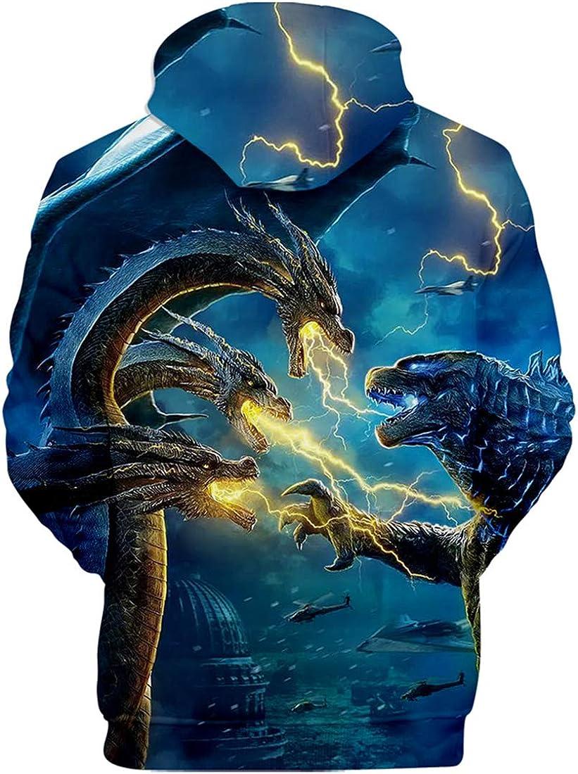 PANOZON Sudadera Unisex Impresi/ón 3D de Godzilla para Fanes de Pel/ícula Godzilla Monstruos con Capucha