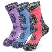 KOOOGEAR 3 Pairs Women Walking Hiking Socks, Anti Blister, Terry Cushion, Breathable, Warm, Moisture Wicking Ladies…