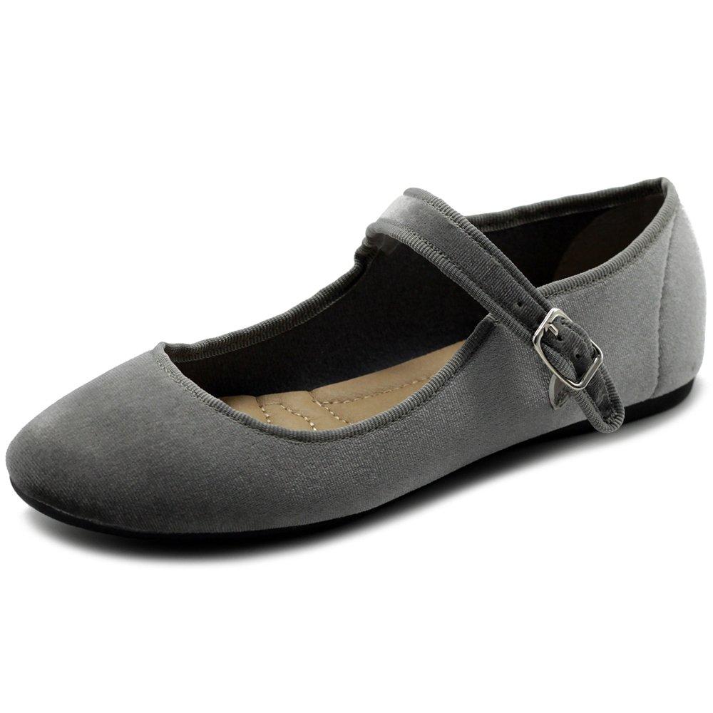 Ollio Women's Shoes Velvet Faux Suede Mary Jane Ballet Flat