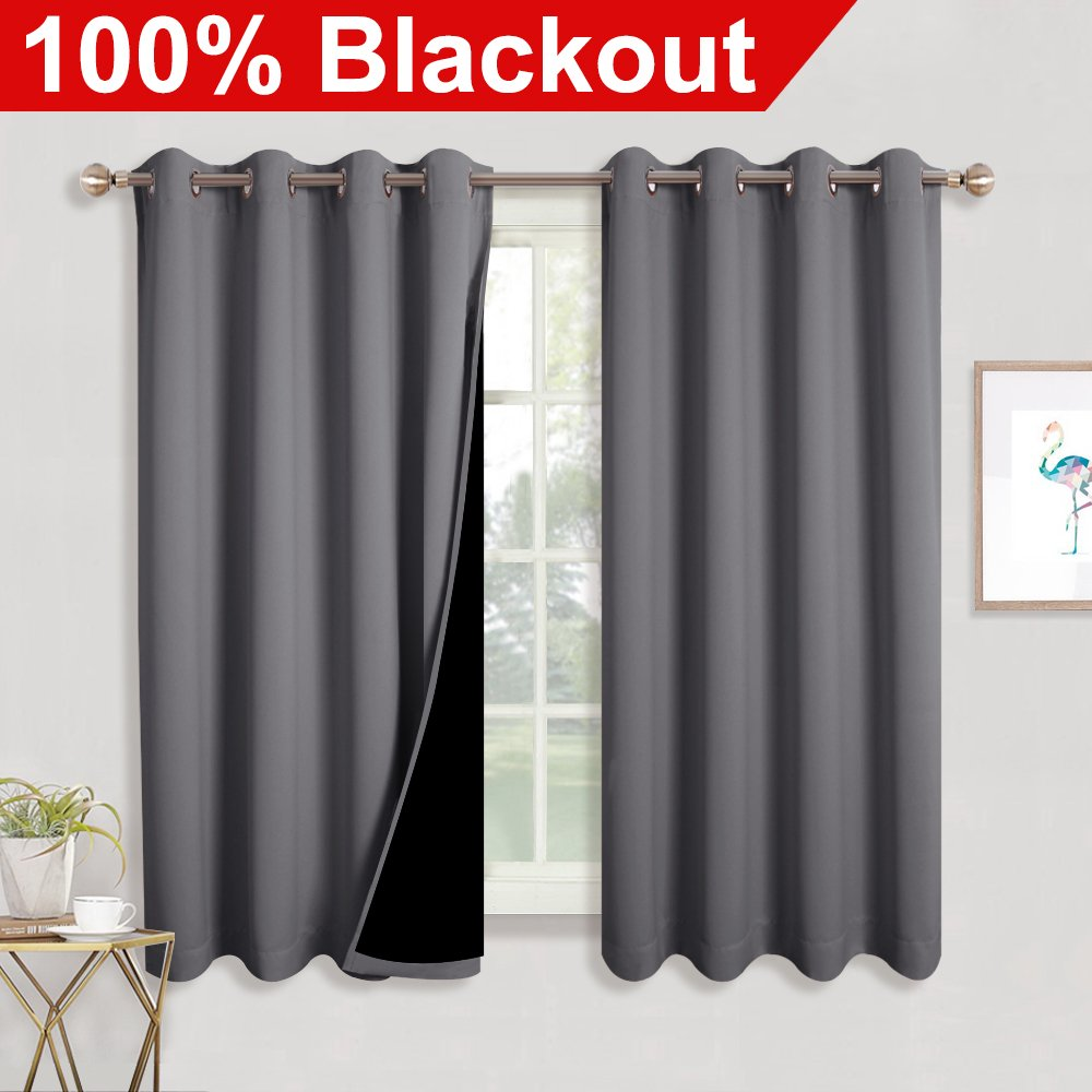 RYB HOME Bedroom Blackout Curtains With Liner Full Light